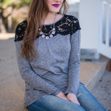 Layered In Lace Top, Gray