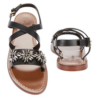 Marni Crystal Embellished Flat Leather Sandals - INTERMIX®