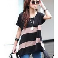 New Summer Women Wide Striped Cotton Short Sleeve Long Top @H3445