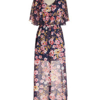 ModCloth Long Short Sleeves Maxi On Floral Grounds Dress