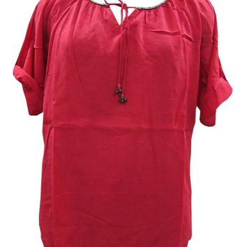 Women's Loose Short Sleeve Red Tunic Dress Tie Closer Rayon Top: Amazon.ca: Clothing & Accessories