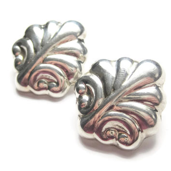 Mexican Sterling Leaf Clip On Earrings