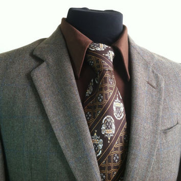 Vintage 2 Piece Rue Royale Designed by Nino Cerruti Paris Light Gray Brown Wool Mens Suit