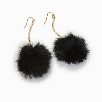 Faux Fur Pom Pom Earrings | Wet Seal