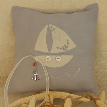 Wedding Ring Pillow-Ring Bearer Pillow- Ceremony Decor-Handmade Linen Ring Bearer Pillow