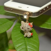 Winking Hi Kitty with Rhinestones and Red Bow Headphone Jack Cell Phone Charm Dust Plug