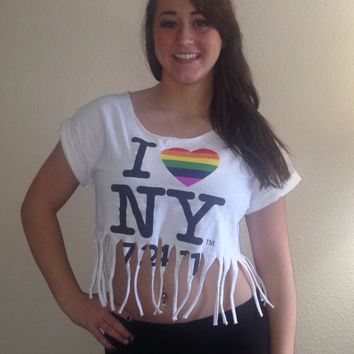 I heart NY Fringe Crop Top Shirt size medium
