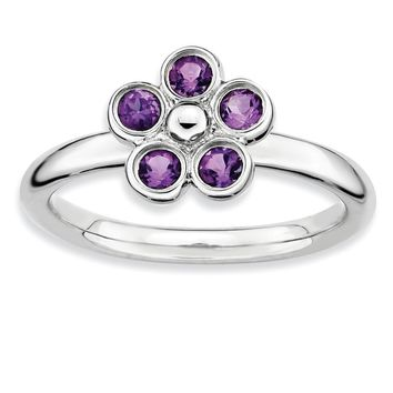 Sterling Silver & Amethyst Stackable 5 Stone Flower Ring