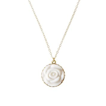 Porcelain Rose With Pearl Gold-Filled Necklace