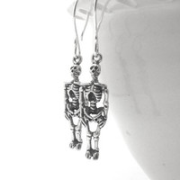 Skeleton Earrings, Sterling Silver