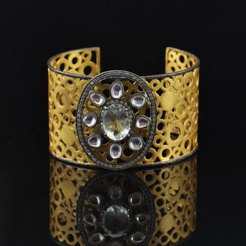 Art Deco Gold Cuff Bracelet With Crystals