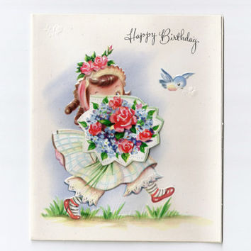 Vintage 3D Birthday Card Clean Unused With Original Envelope Little Girl Feminine Floral Bouquet