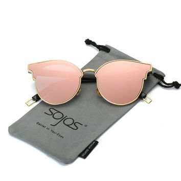 Sunglasses Woman Fashion CatEye Round Mirrored Flat Lenses Metal Frame Oversized Party Summer Glasses Oculos De Sol SOJOS SJ1055