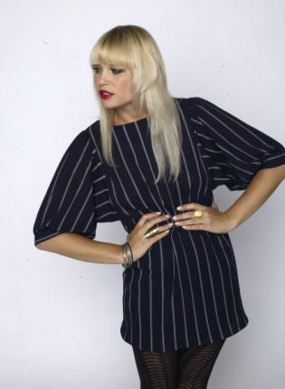 Blue Day Dress - Vintage Pin Strip Puffed Sleeve | UsTrendy