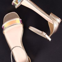 Bamboo Holographic Open Toe Flat Sandal