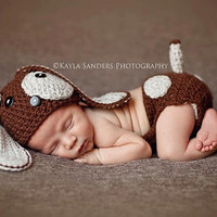 Crochet NEWBORN Little Puppy Dog Set, Hat and Diaper Cover Photography Prop