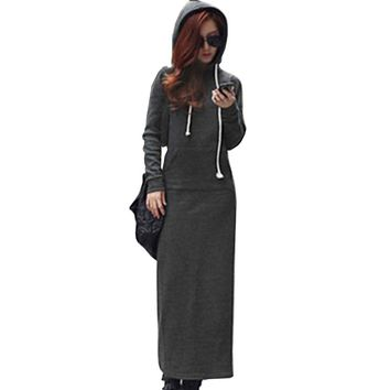 Autumn Women Slim Hoodie Dress Pocket Pullover Long Sleeve Casual Hoodies Women Clothing Tracksuit Hoodies Sweatshirt