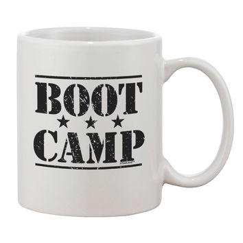 Bootcamp Large distressed Text Printed 11oz Coffee Mug