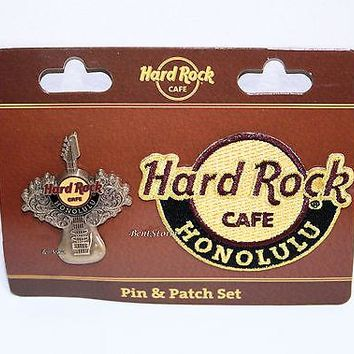 Licensed cool Hard Rock Cafe Honolulu Hawaii Embroidered HRC logo Iron On Patch & Pin Set NEW