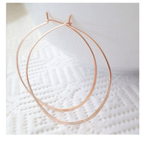 Large Hammered Rose Gold Hoop Earrings Pink Gold by camilaestrella