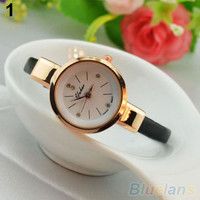 Women Ladies Candy Color Fashion Thin Leather Strap Quartz Bracelet Wrist Watch