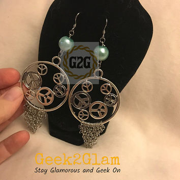 Blue bead Chainmail and peace charm chandelier earrings hypoallergenic