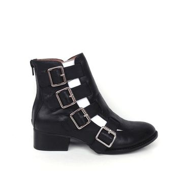 Jeffrey Campbell – EVERMORE Cut-Out Leather Ankle Bootie In Black Leather | Thirteen Vintage