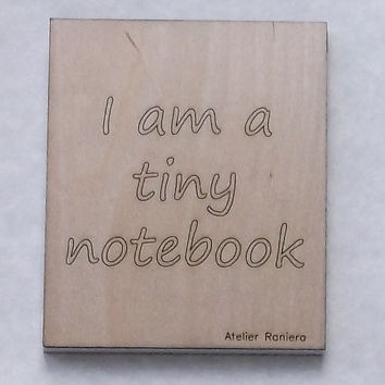 Small Ruled Tiny Notebook with Wooden Cover, Gift Idea, Wood, Lasercut