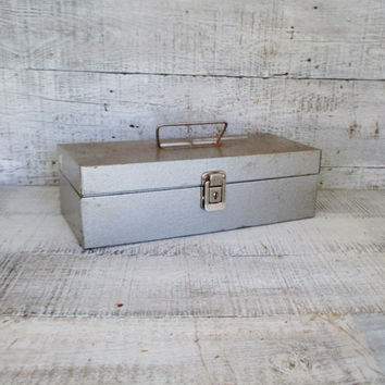 Metal Box Vintage Industrial Box Grey Metal Tool Box Utility Box Vintage Metal Toolbox Grey Metal Box Industrial Storage Rusty Metal Box