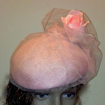 Adorable Pink Straw Hat - Ready for Weddings, Party, Easter Church or Tea - Feel Like a Princess