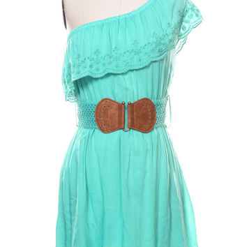 Western Turquoise One Shoulder Eyelet Dress with Belt