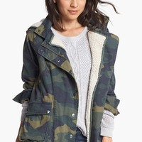 Rubbish® Faux Shearling Lined Slouchy Jacket (Juniors) | Nordstrom