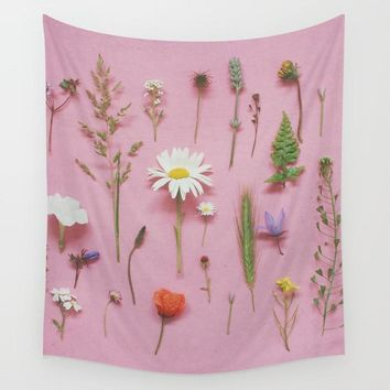 Pink Petals Fabric Wall Tapestry