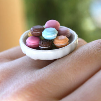 French Macaron - Adjustable Food Ring - Dessert Jewelry