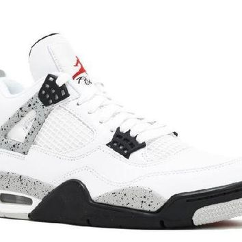 DCCKUN7 Ready Stock Nike Air Jordan 4 Retro Og White Cement 2016 Release Fire Red Black Tech Grey Basketball Sport Shoes