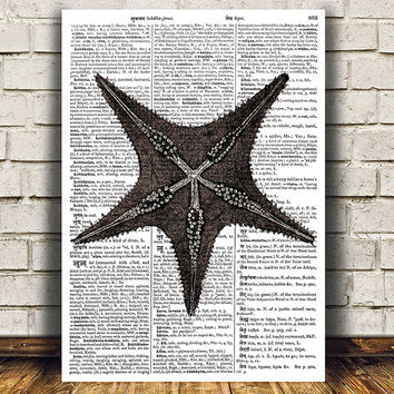 Star fish print Nautical art Beach house poster Marine print RTA1166