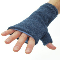 Men's Fingerless Mitts in Blue - Recycled Wool - Fleece Lined