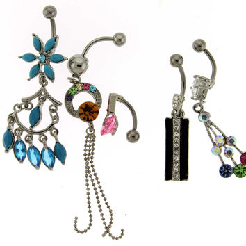 Assortment-A17 of 5 Belly Rings - Limited 1 per Order per Day.