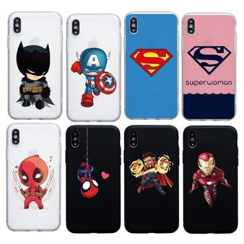 Deadpool Dead pool Taco Cartoon Superman Woman case for iphone 6 6s plus 7 8 Plus 5s SE X XS Max XR soft cover  Iron man Doctor Strange case AT_70_6