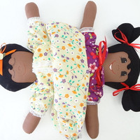cloth rag doll reversible African American topsy turvy flip flop doll UP619