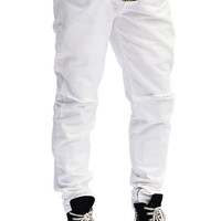 The Ripped Zip Leg Jeans in Off White