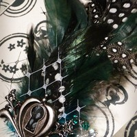 Teal and Black/White Polka Dot Feathered by SoleProprietorship