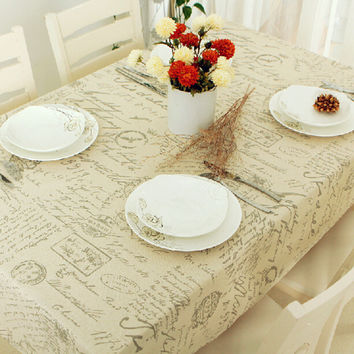 Europe Stlye Tablecloth Popular Quality Linen Rectangular Table Cloth Floral Print Dustproof Tablecloths Home Textile