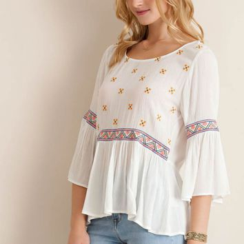 Bell Sleeve Babydoll with Embroidery