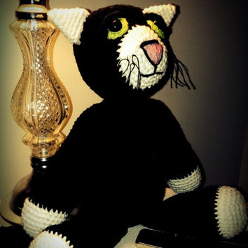 crochet black cat doll, OOAK, amigurumi animal, scented, eco-friendly, wool stuffed, soft rag doll, cotton, plush