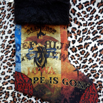 SLIPKNOT - Upcycled Rock Band T-shirt Christmas Stocking - OOAk