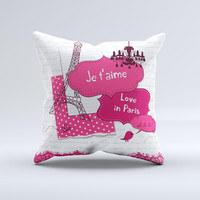 Paris Pink Illustration  Ink-Fuzed Decorative Throw Pillow