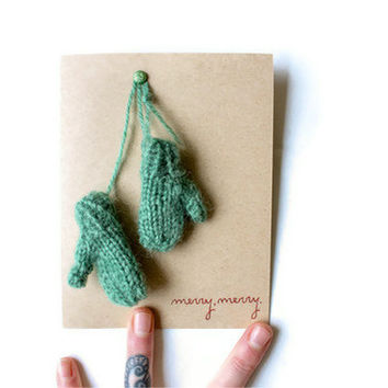 Handmade Card and Ornament: Stay Warm Mittens--Custom Color--Custom Text