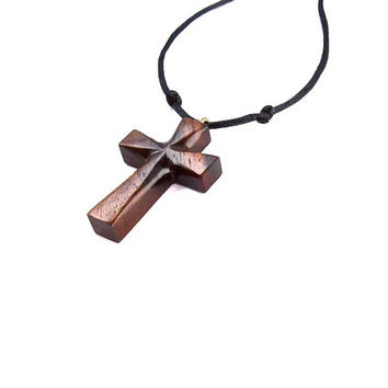 Christian Jewelry, Mens Cross Necklace, Wooden Cross Necklace, Mens Cross Pendant, Wooden Cross Pendant, Hand Carved Cross, Mens Jewelry