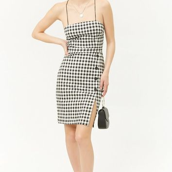 Gingham Lace-Up Back Dress